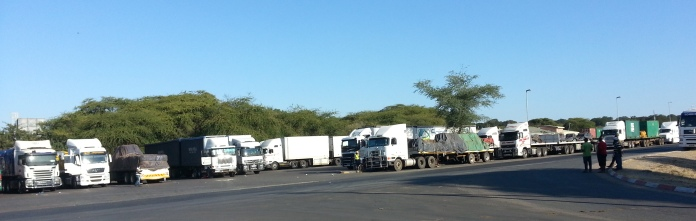 Trucks waiting up to a week to take river ferry, one at a time