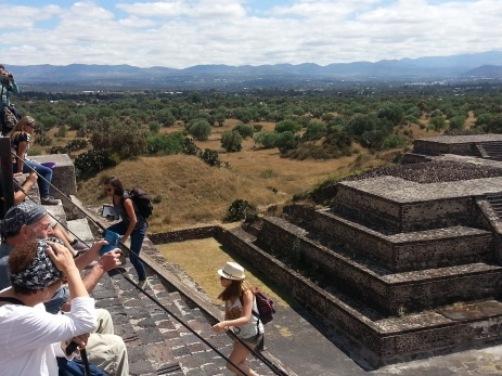 Climbing the steps on the Moon Pyramid
